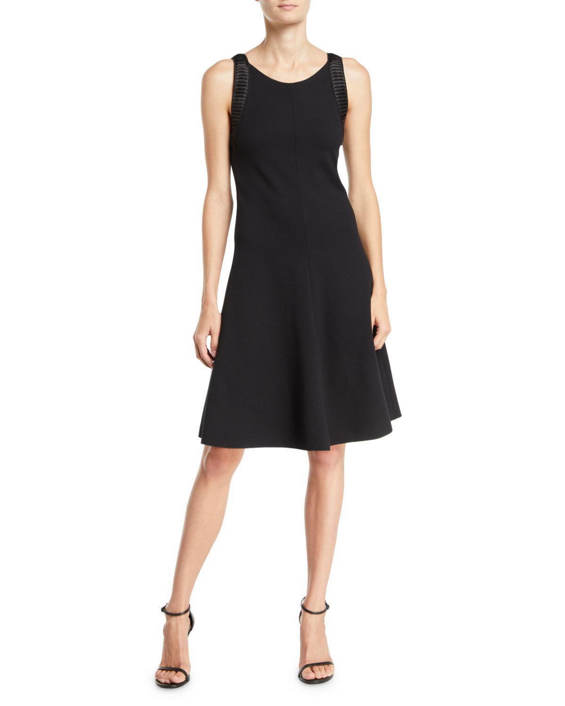 164556a58ab47 Emporio Armani Sleeveless Round-Neck A-Line Ottoman Knit Dress W/ Satin  Combo