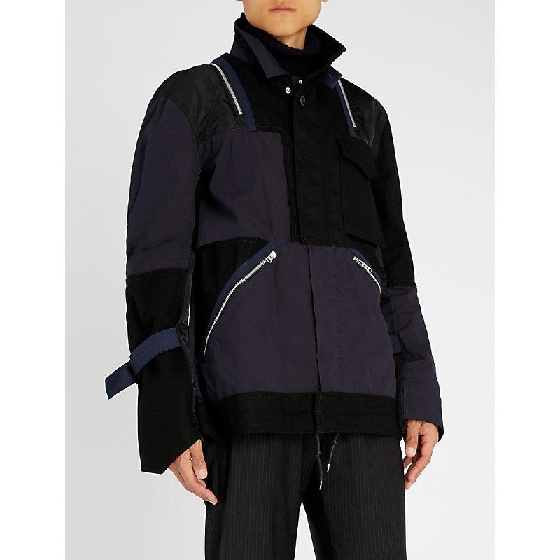 Sacai Patchwork Jacket In Black