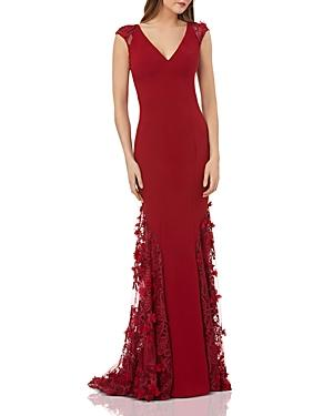 b2d5091ab6aa7 Carmen Marc Valvo Cap-Sleeve Crepe Trumpet Gown With 3D Floral Mesh Detail  In Burgundy