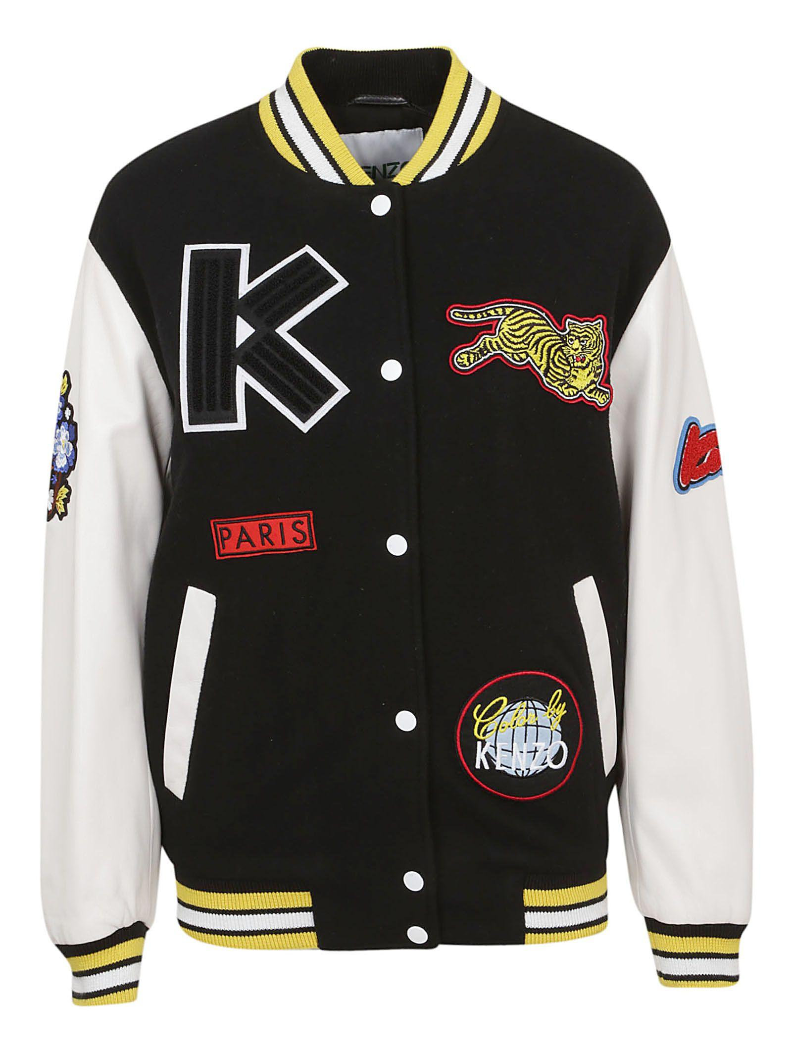 a179cab456d Kenzo Embroidered Leather-Trimmed Wool-Blend Bomber Jacket In Black ...