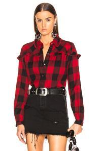 Button In Shirt Cotton Check Down RedModesens Flannel Frame Ruffle sdtCxQhr