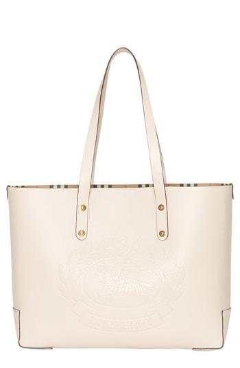 ba9f9a96f0e8 Burberry Small Embossed Crest Leather Tote In Neutrals