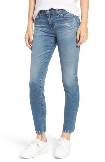 Ag The Legging Super Skinny Ankle Jeans W/ Chewed Hem In 23 Years Limelight