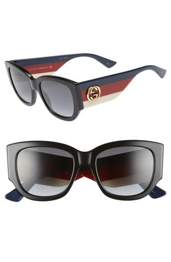 0b38eda114368 Gucci Gg0276S Black Oversize Cat Eye Acetate Sunglasses W Sylvie Web Temples  In Black