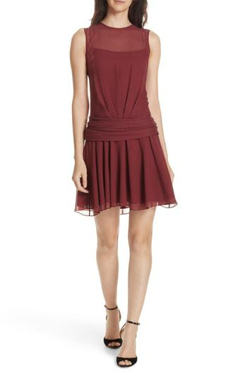 63c8ee1cf538 Theory Draped Dot-Print Chiffon Dress In Black/Mulberry | ModeSens