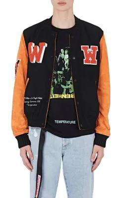 eb811a97d0a6 Off-White Eagle Temp AppliquÉD Wool-Blend Felt And Suede Bomber Jacket In  1088