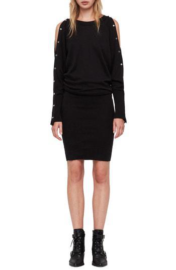 1ddb9303d2c Allsaints Suzie Snap Sleeve Sweater Dress In Black