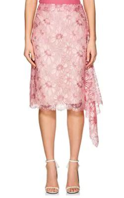 5abb48832c Calvin Klein 205W39Nyc Lace Side-Zip Pencil Skirt With Ruffled Frill In Pink