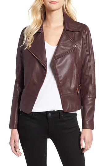 f23a2e18524b Ted Baker Lizia Leather Biker Jacket In Purple