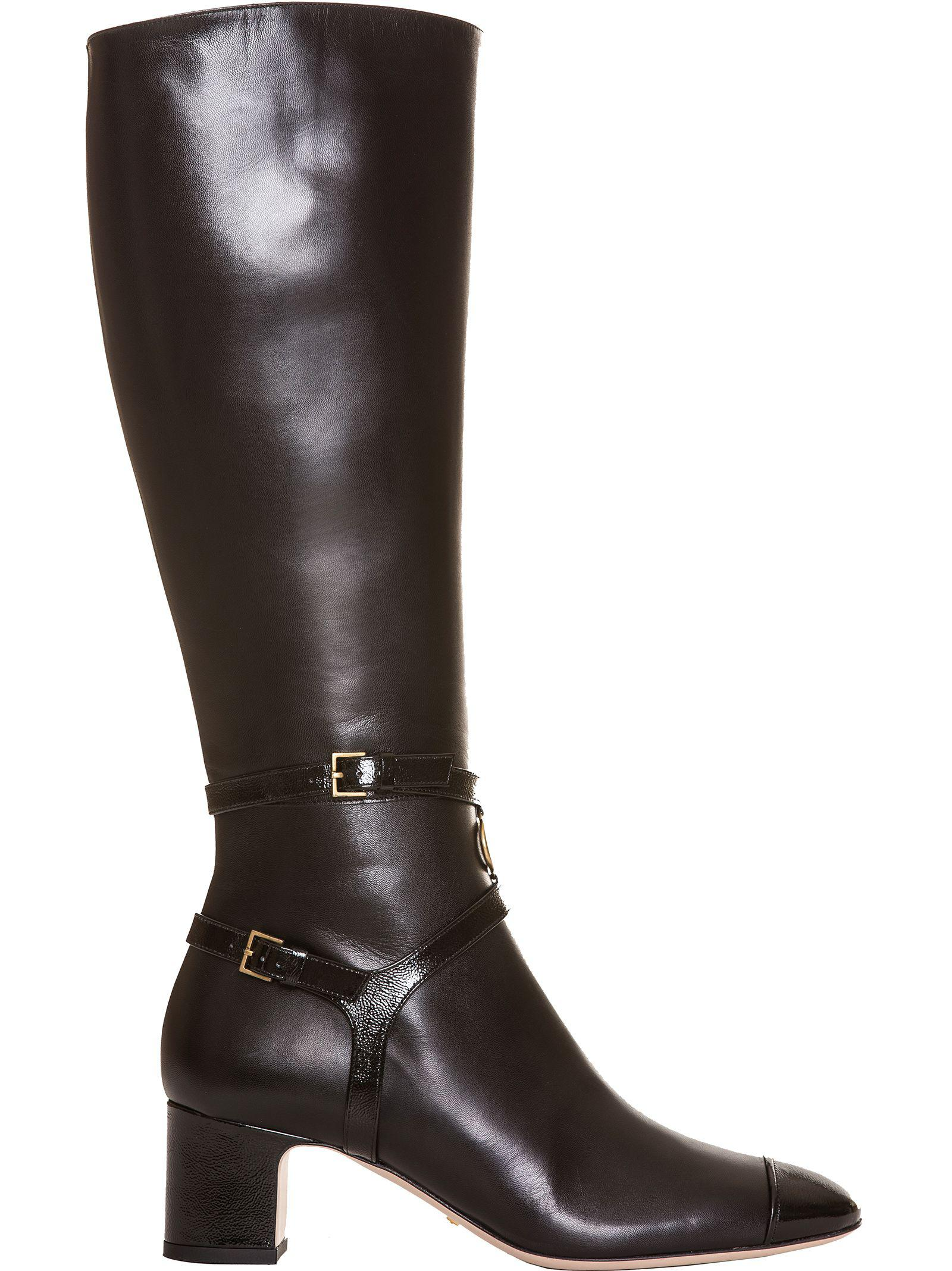8b099c256551 Gucci Women s Suede Mid Heel Tall Boots In Nero