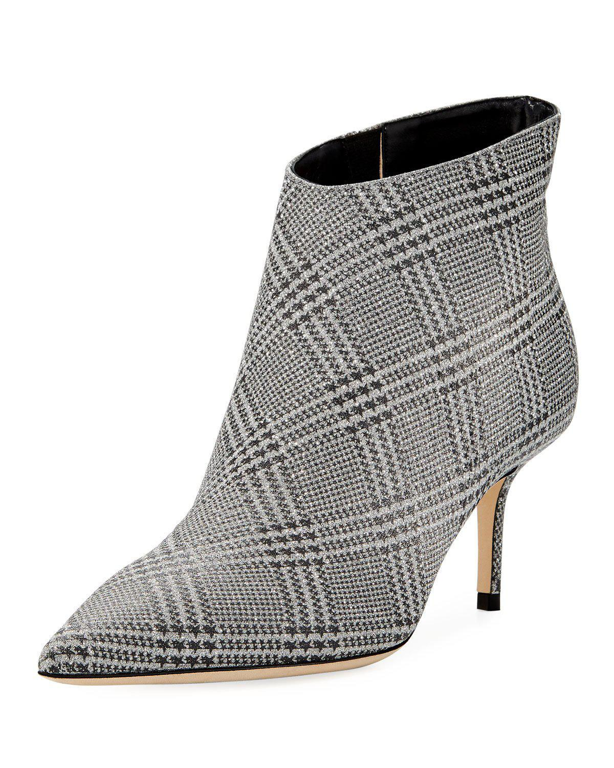 138c7ac081d8 Jimmy Choo Marinda 65 Glittered Prince Of Wales Checked Leather Ankle Boots  In Silver