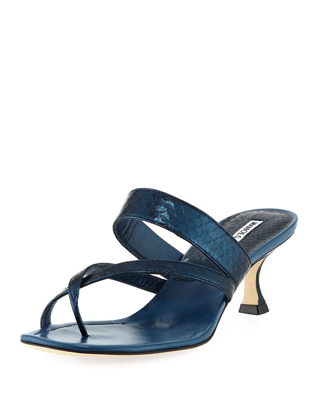 f5d72297b4fb Manolo Blahnik Susa Strappy Snakeskin Thong Sandals In Navy