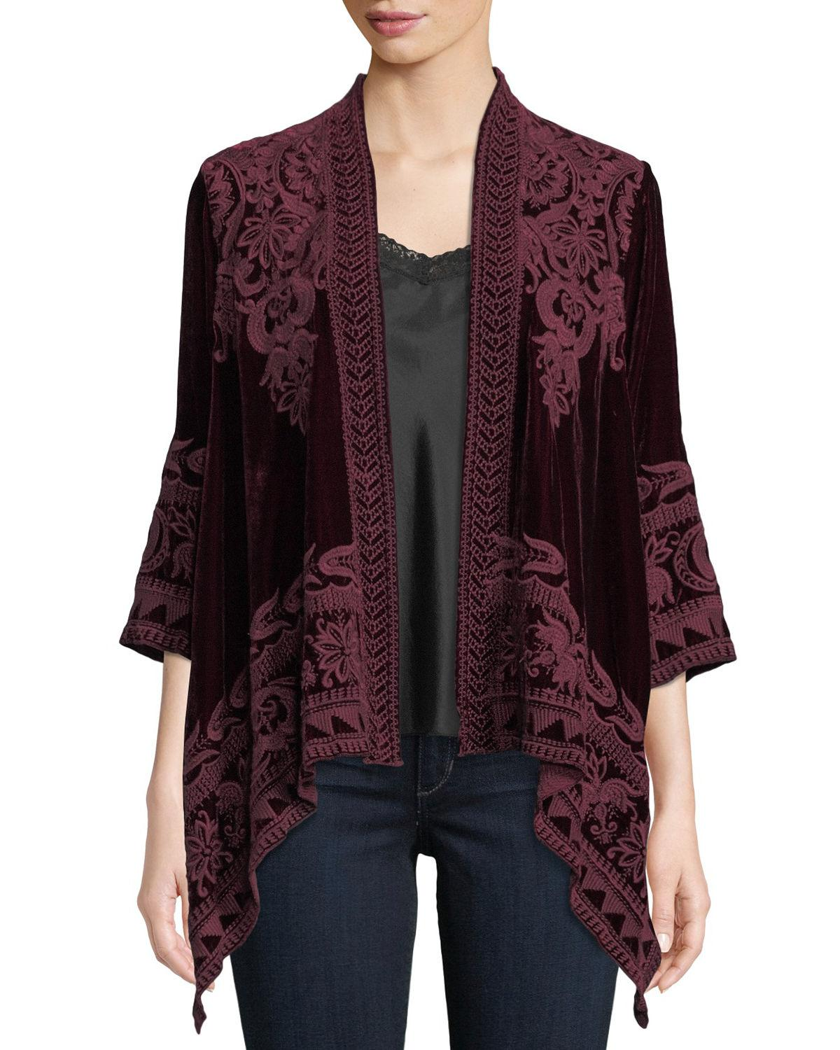 c606a9b279 Johnny Was Hirsch Embroidered Velvet Draped Cardigan In Dark Spice ...