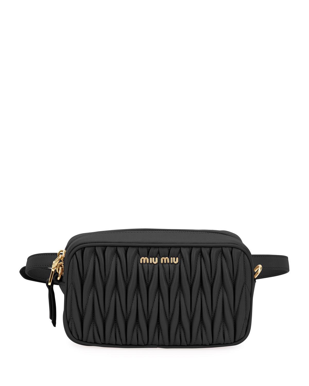 40e44cc455e8 Miu Miu Rider MatelassÉ Leather Belt Bag In Nero | ModeSens