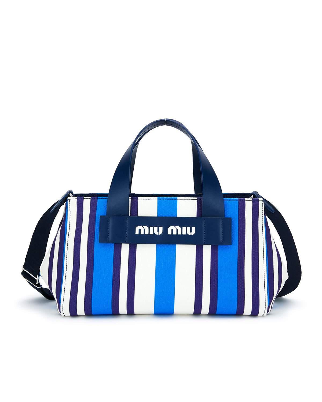 313df8a74b2d Miu Miu Striped Hemp   Leather Small Tote Bag In Blue