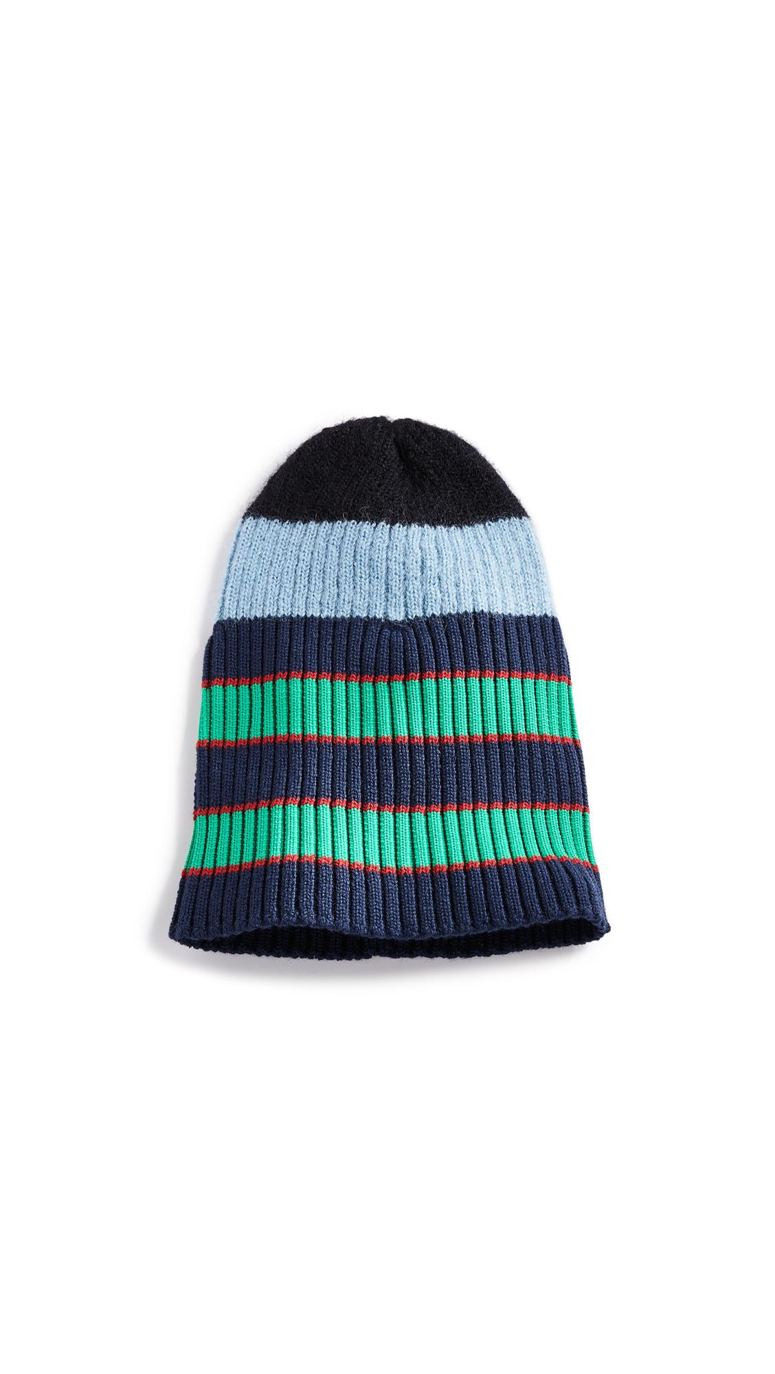 5d2ad889a868f Kenzo Stripy Cable Wool Beanie In Sky Blue