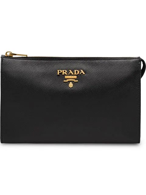 Prada Clutch Mit Logo In Black