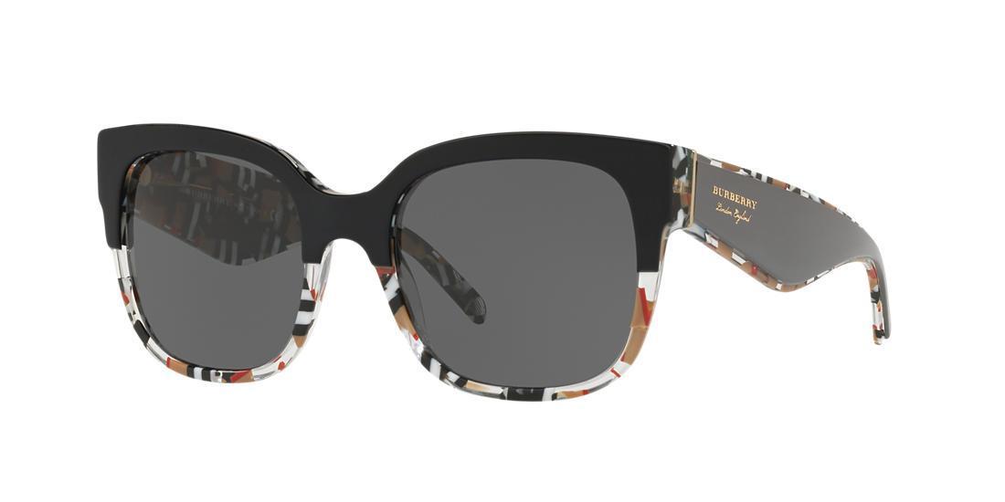 9fceaf3b583 Burberry 56Mm Cat Eye Sunglasses - Black  Check Print In Top Black On Check