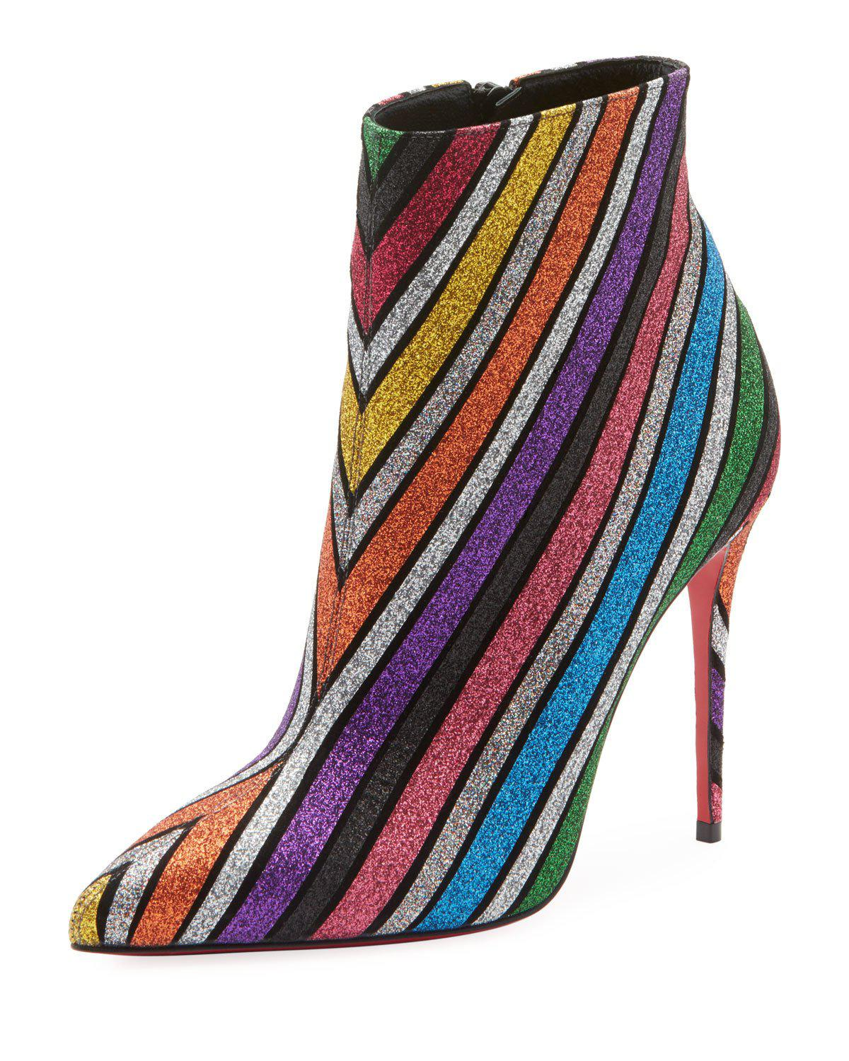 c7a959ab1e27 Christian Louboutin So Kate 100 Stripey Glitter Suede Red Sole Booties