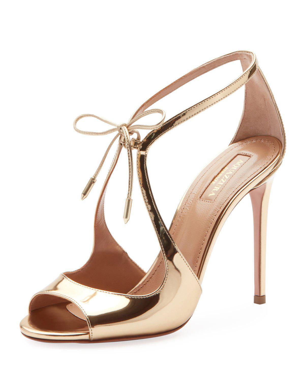 1784050e8 Aquazzura Oscar Gold Metallic Leather Sandals