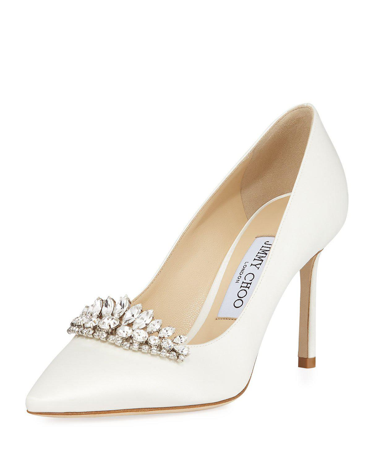 770a64a37641 Jimmy Choo Romy 85 Ivory Satin Pointy Toe Pumps With Crystal Tiara In White