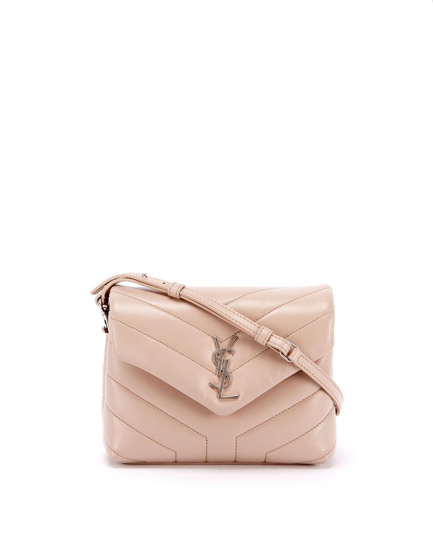 e5b318c5a5 Saint Laurent Loulou Monogram Ysl Mini V-Flap Calf Leather Crossbody Bag -  Nickel Oxide