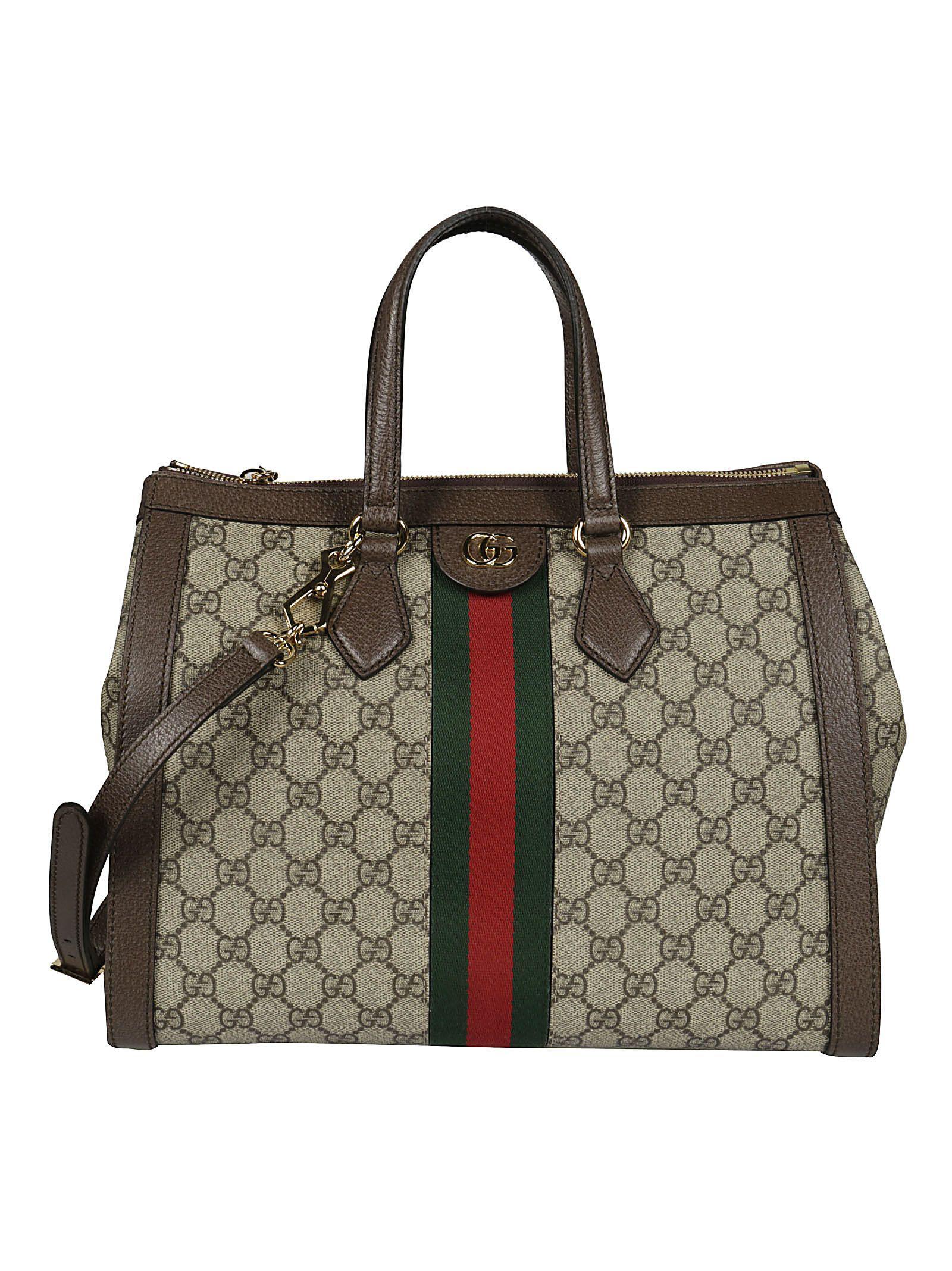 f10ea543988 Gucci Ophidia Medium Gg Supreme Canvas Web Top-Handle Tote Bag In 8745 Beige