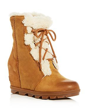 ffdf613b775 Sorel Joan Of Arctic Wedge Ii Shearling-Trimmed Waterproof Leather And Suede  Ankle Boots In