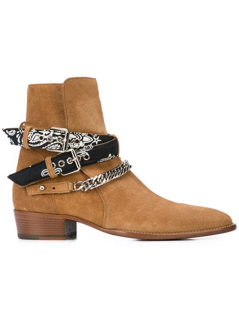 Amiri Bandana Buckle High Heels Ankle Boots In Leather Color Suede In Neutrals ,black