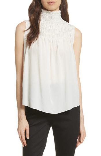 4423731c66f05 Frame Smocked Sleeveless Silk Blouse In Black