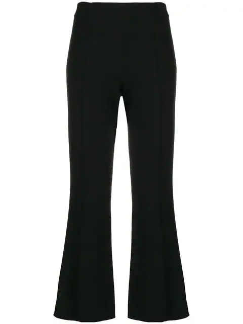 The Row Beca Black Kick-flare Stretch-knit Trousers