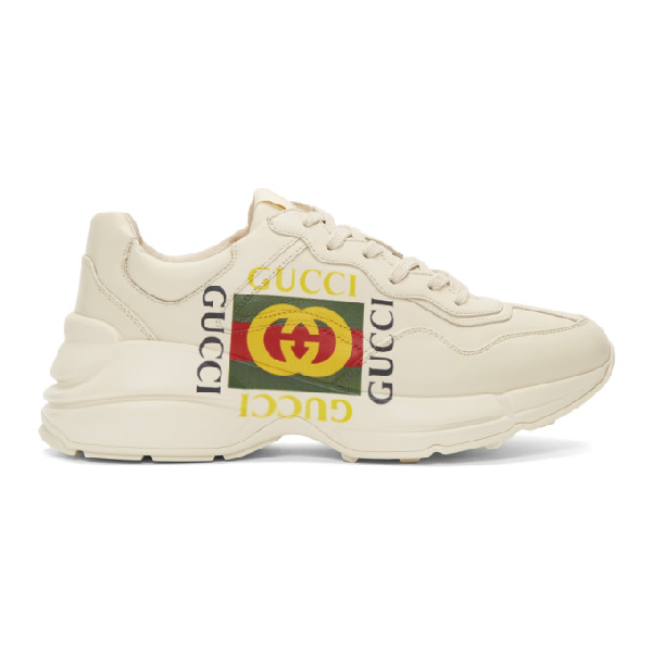 Gucci Rhyton Logo-Print Low-Top Leather Trainers In White