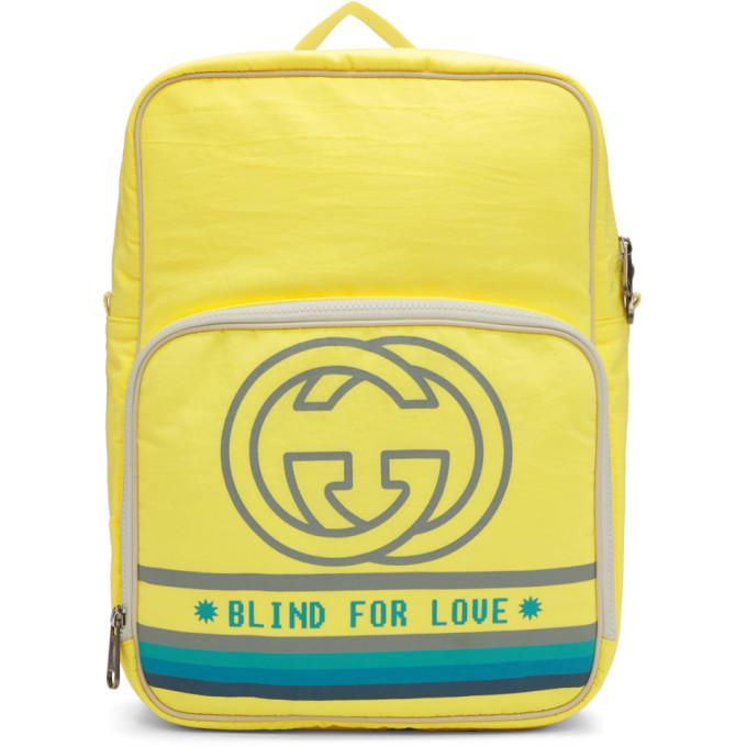 ad1ae6f6135 Gucci Medium Backpack With Interlocking G Print In 7482 Yellow ...