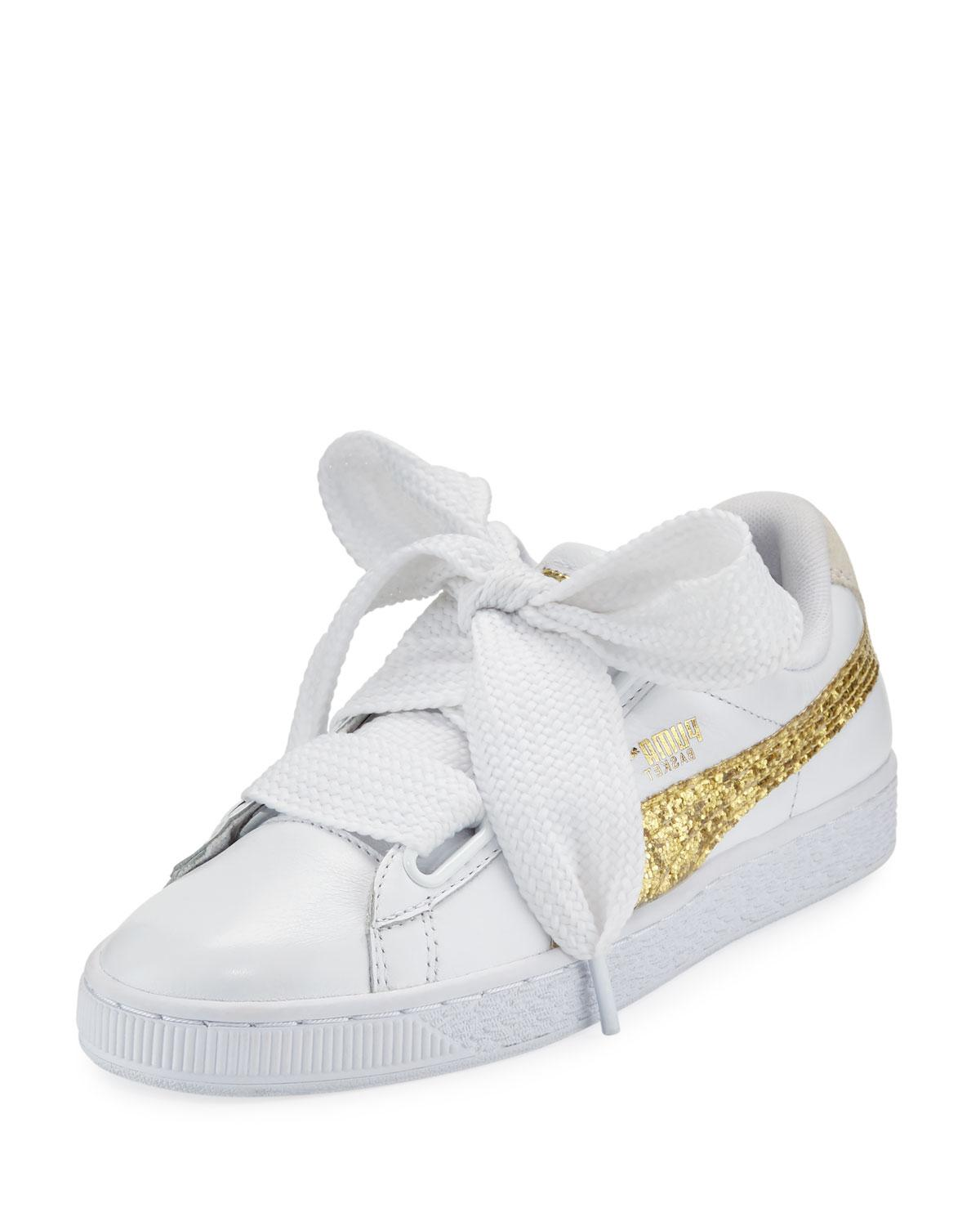 50757aaced642b Puma Women s Basket Heart Glitter Casual Sneakers From Finish Line In White