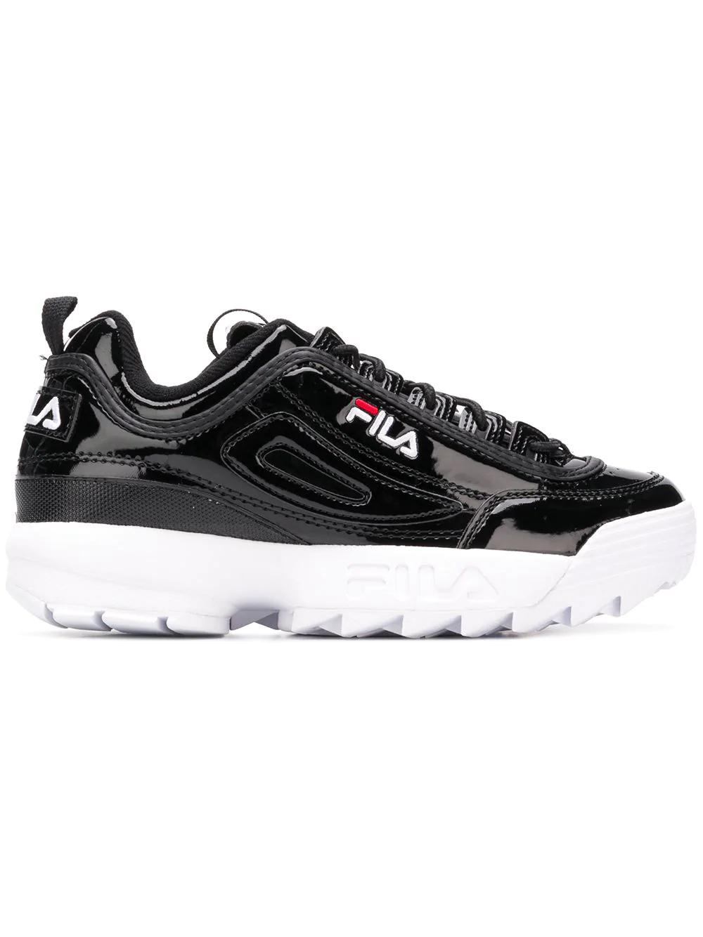 253c5a0b7120 Fila Women s Disruptor Ii Round Toe Patent Leather Platform Dad Sneaker In  Black