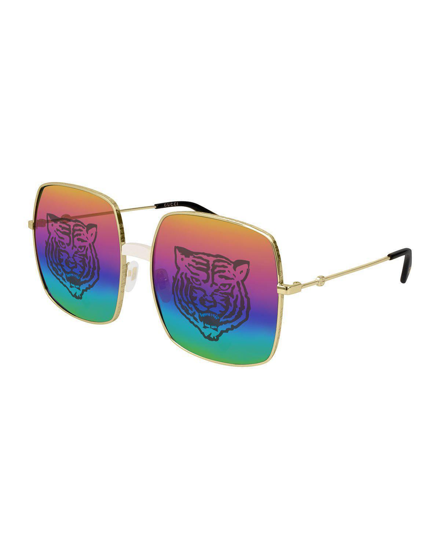 3b53c9a98 Gucci Rectangular-Frame Metal Sunglasses W/Tiger Print In Gold/ Rainbow  Tiger