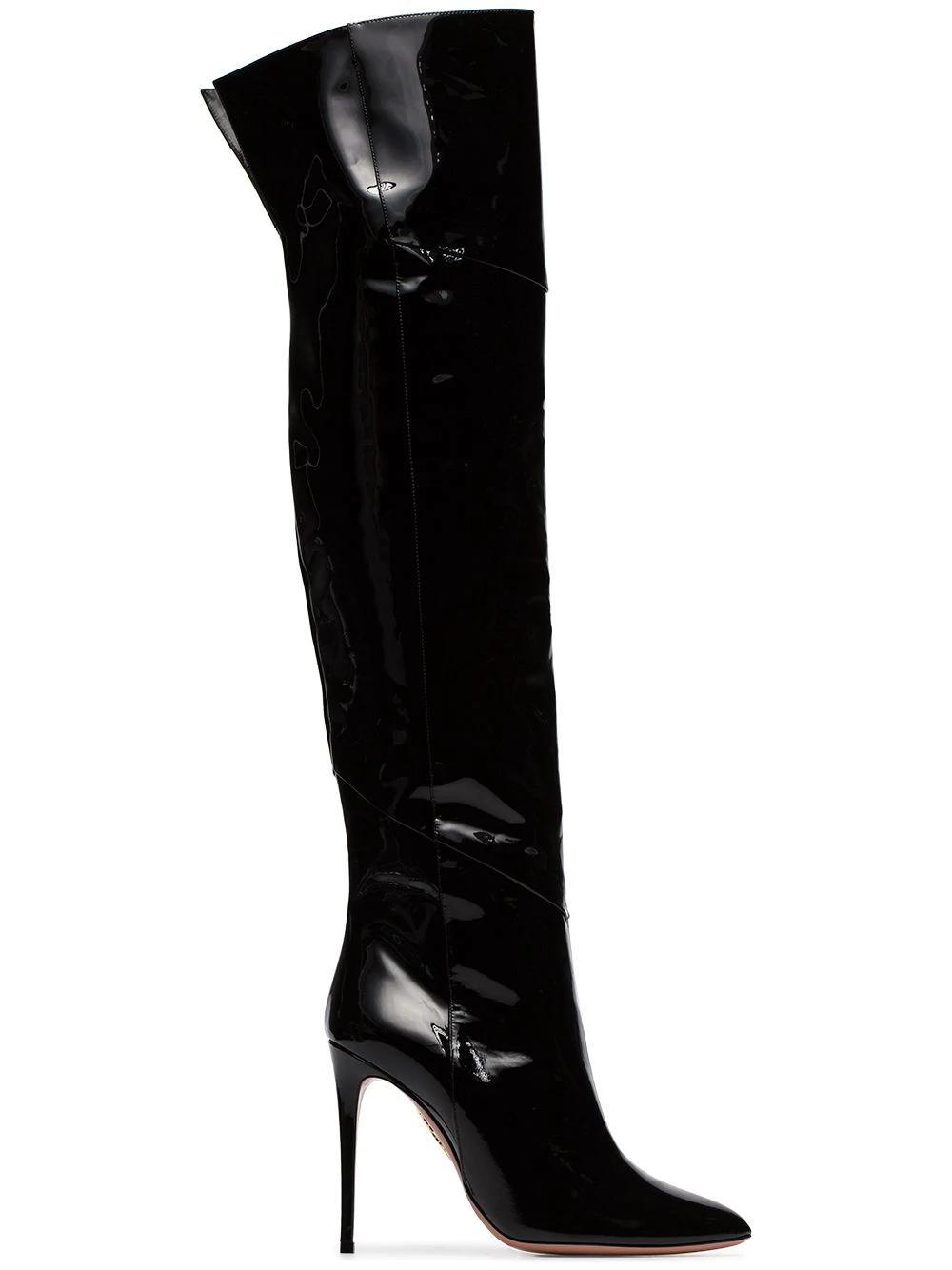 d8331357f6a Aquazzura Alma 105 Patent-Leather Over-The-Knee Boots In Black ...