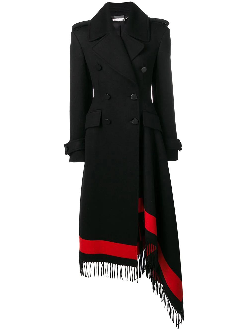 Alexander Mcqueen Asymmetric Fringed Wool-blend Double-breasted Coat In Black
