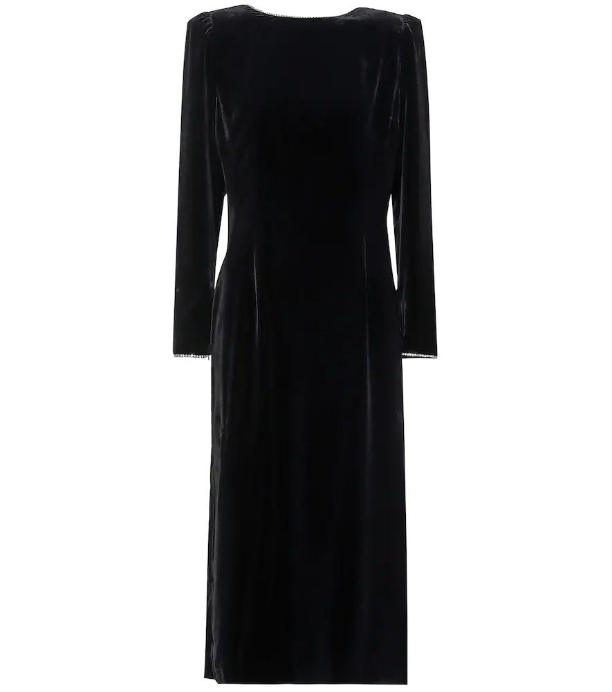 0f772035a2b Gucci Long-Sleeve Back Bow Classic Silk-Viscose Velvet Dress W/ Crystal Trim