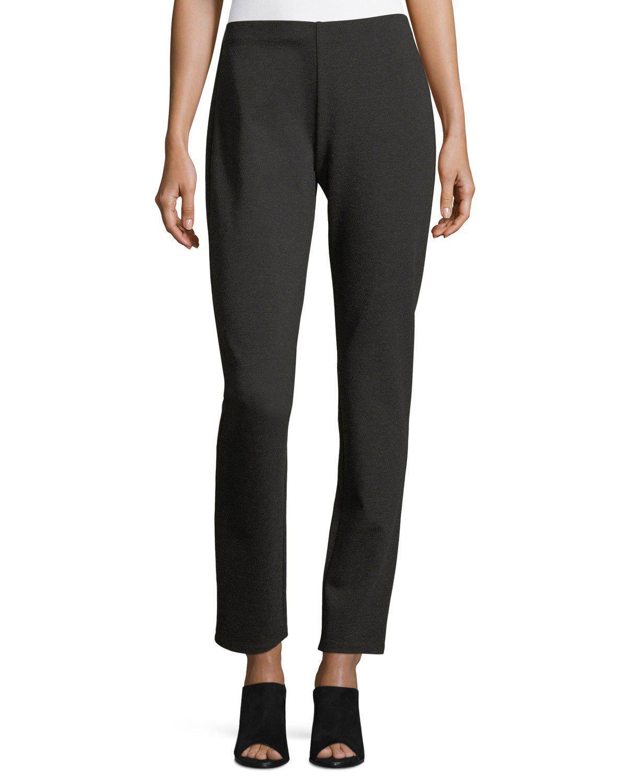 d3f3794de608c Eileen Fisher Melange Stretch-Ponte Slim Pants, Plus Size In Grey ...