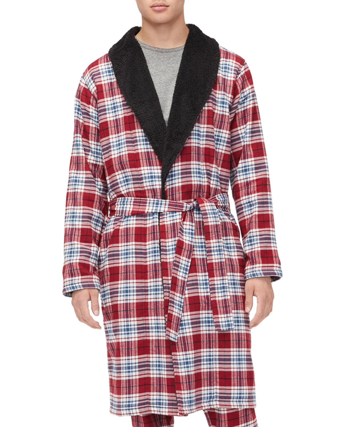 cbf8edb848 Ugg Men S Kalib Sherpa-Lined Plaid Robe In Chili Pepper Plaid
