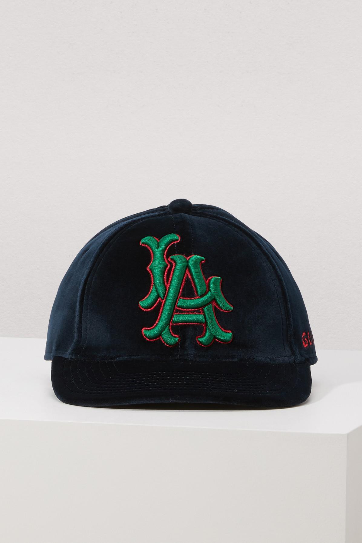df2b53fb0 Gucci La Angels Velvet Baseball Cap In Blue | ModeSens