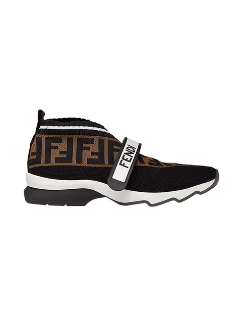 Fendi Rockoko Logo-jacquard Stretch-knit And Mesh Slip-on Sneakers In Black