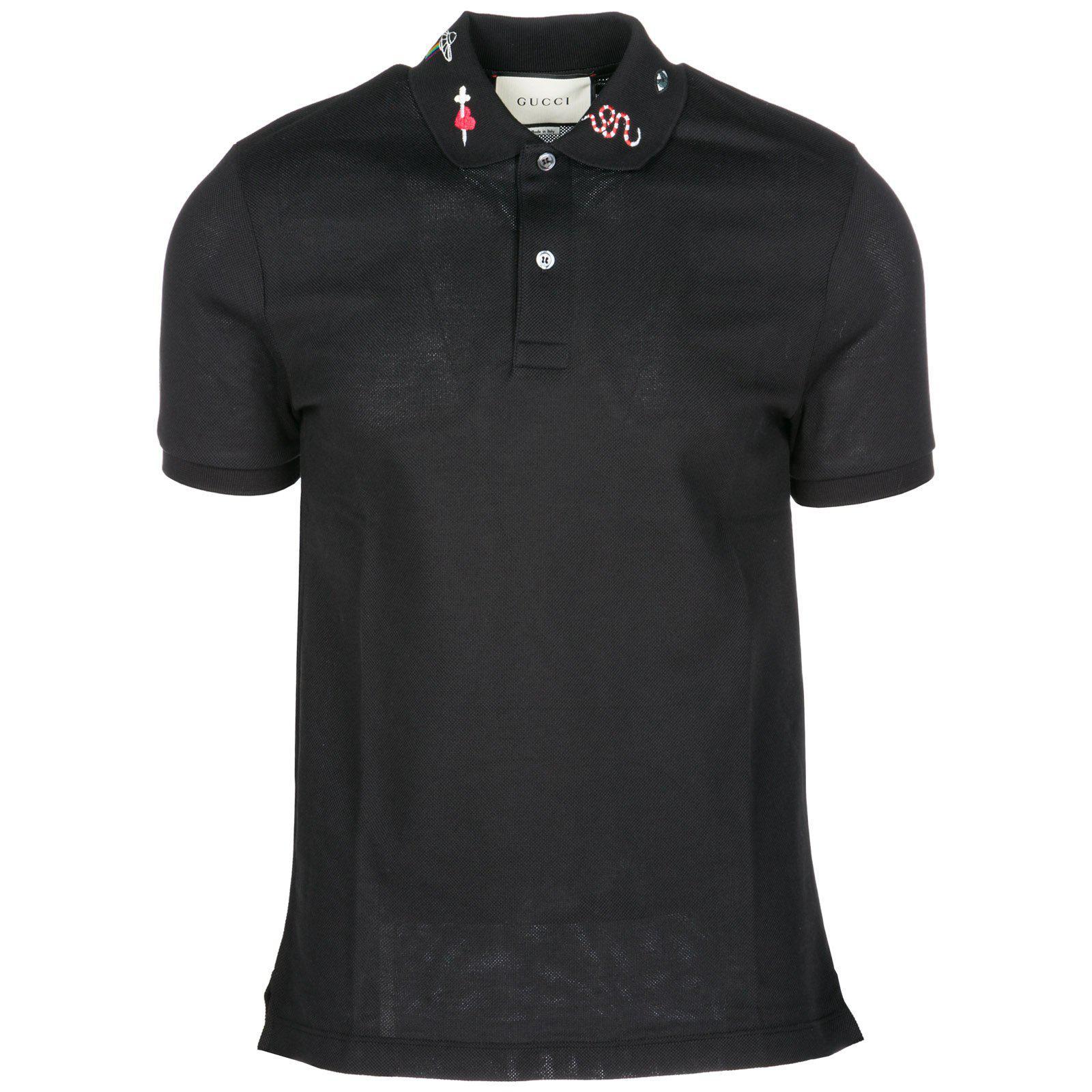 550646871fb0 Gucci Men's Emblems Embroidered-Collar Polo Shirt, Black/Gold | ModeSens