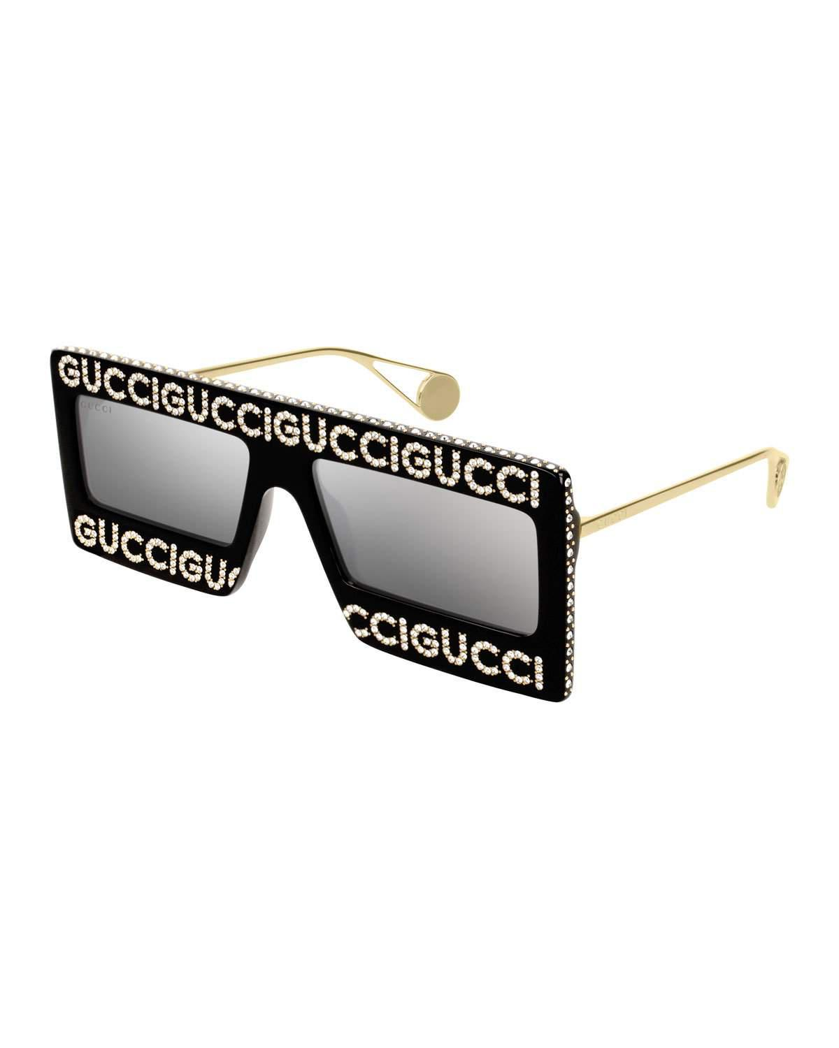 9e75abefe1da4 Gucci 60Mm Mask Rectangular Sunglasses - Black Swarovski W Grey White