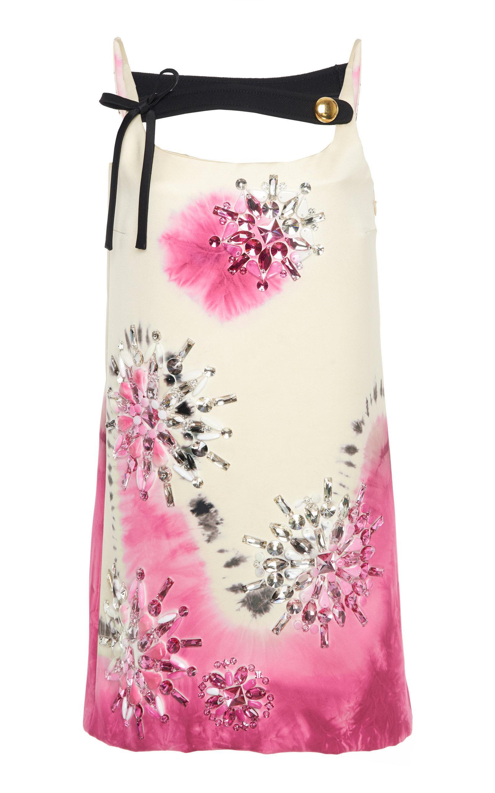 Prada Embellished Tie-dye Silk-satin Mini Dress In White ,pink
