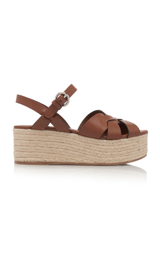 Prada Criss Cross Leather Wedge Espadrille Sandals In Brown