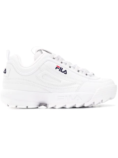 Fila Women's Disruptor Ii Premium Lace Up Leather Dad Sneakers In White