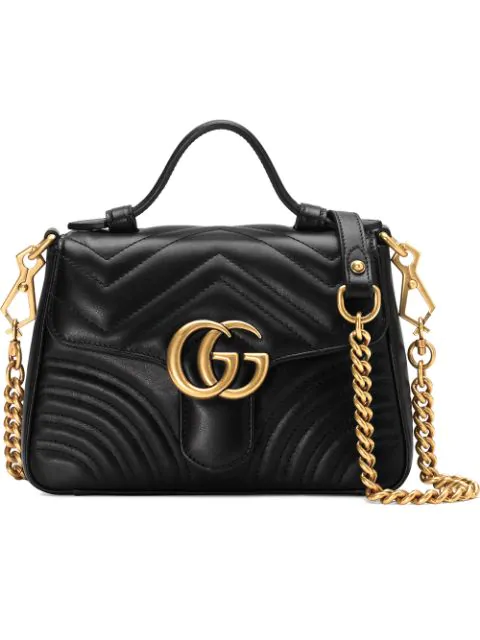 Gucci Black Marmont Mini Quilted Leather Shoulder Bag In 1000 Black