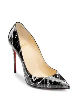 ea9ea877c Christian Louboutin Pigalle Follies Nicograf 100 Printed Patent-Leather  Pumps In Black